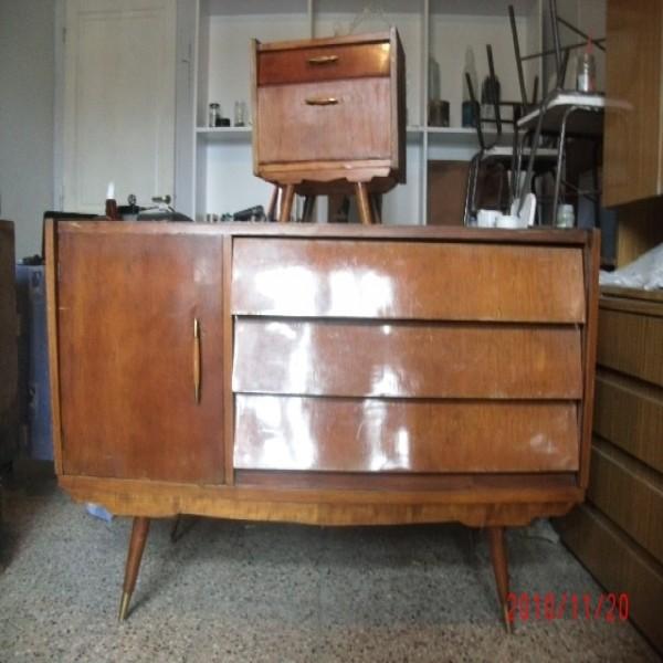 Comoda y mesa de luz estilo 1960 muebles antiguos portal - Estilo de muebles antiguos ...