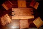TABLA DE 55X30X 1 PULGADA, LA MEJOR CALIDAD + 6 PLATOS CUADRADOS DE 24X24X1 PULGADA, Cuchillos Patriota, venado tuerto