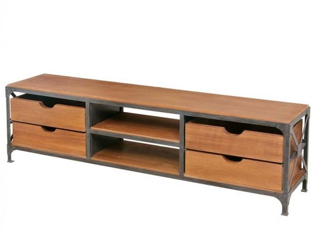 Mesa de tv fierro hierro y madera con 4 cajones y 2 for Mesas de hierro y madera