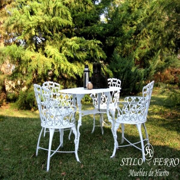 Muebles de jardin en hierro forjado 1 mesa y 4 sillas la for Muebles de jardin de hierro
