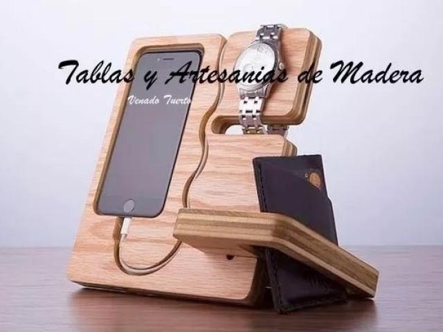 Organizador artesanal de madera 1 accesorios de - Como hacer un reloj de pared ...